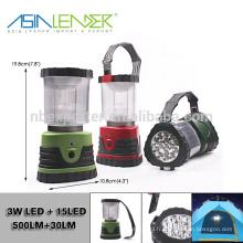 BT-4888 3xD Batterie 3W LED + 15 LED Portable Ultra Bright Camping Lantern