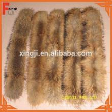 Col fourrure de raton laveur 4 * 80cm de couleur naturelle avec ruban adhésif