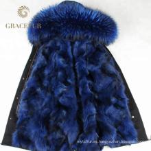 Parka forrada de piel de invierno con capucha y forro de piel