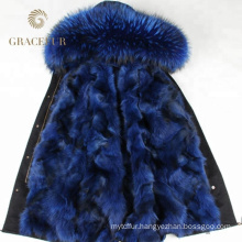 Special offer winter fur lined parka with hood with fur lining