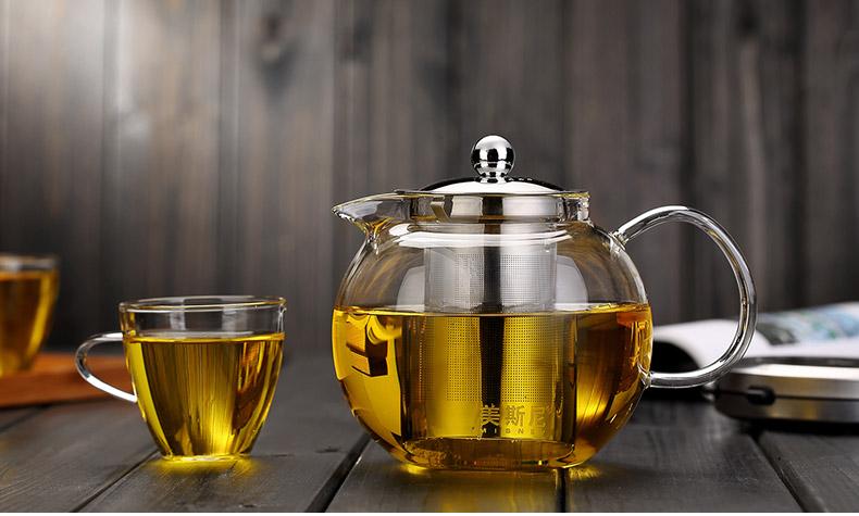 strainer glass teapot
