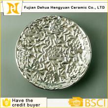 Plaque en porcelaine argentée en galvanoplastie pour décryptage à la maison
