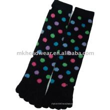 fashion cotton jacquard five-toe sock