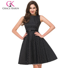 53 Colors Available Grace Karin Audrey Hepburn 50s Dress Knee Length Sleeveless Cotton Cheap Retro Vintage Dress 50s CL6086-3
