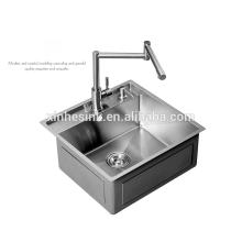Fregadero de cocina de acero inoxidable funcional R0 / R10 / R15 / R19 hecho a mano con paso, acero inoxidable SUS 304 calibre 16/18