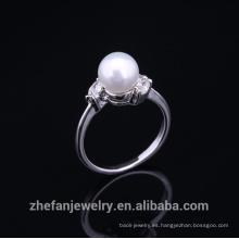 Anillo de dedo de la perla del nuevo diseño 2015 cobre estupendo de la moda para las mujeres