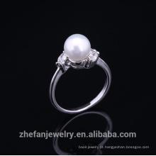 2015 super moda cobre novo design pérola anel de dedo para as mulheres