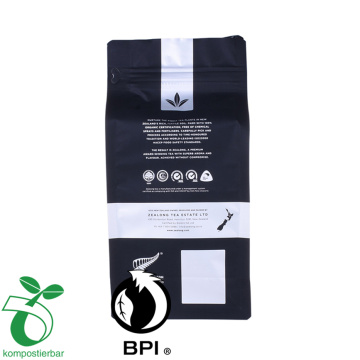 Borsa da caffè con superficie nera opaca inferiore compostabile