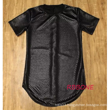 Fashion Lengthen Faux Leather Tops & Tee