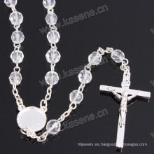Rosario de cadena de cristal religioso de plata de la venta al por mayor de 6m m