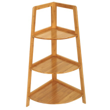 3 tiers durable bamboo triangle corner display shelf