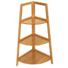 Étagère d'angle en bambou triangulaire durable à 3 étages