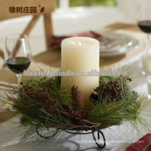 Huaming decorated candles/Wholesale White Pillar Candles /white household candles for decoration