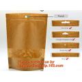 Foil Kraft Paper Bag Coconut Packaging Bags Doypack with Clear Window,500g 1kg 16oz Ziplock Food Packaging Bag Customize