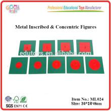 Montessori Materialien - Metall beschriftet & konzentrische Figuren