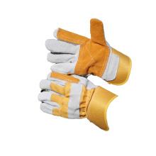NMSAFETY coton jaune avec des gants en cuir fendu de vache