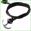 Mode PU Leder handgefertigte Edelstahl-Anker-Armband Armreif