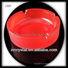 K9 Cendrier rond rouge en cristal