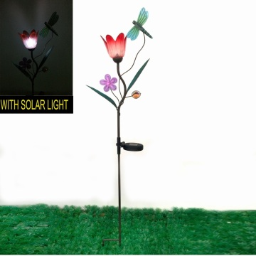 Solar, iluminado, libélula, decoración, jardín, metal, estaca