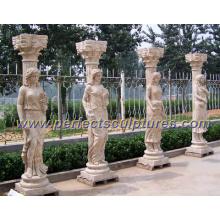 Stone Marble Roman Column Pillar with Roman Sculpture (QCM111)