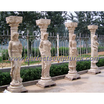 Stone Marble Roman Column Pillar with Roman Sculpture (QCM111)