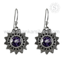 Wedding fine amethyst silver earring gemstone handmaded jewelry 925 sterling silver jewellery wholesaler