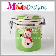 Christmas Wholesale OEM Ceramic Cookies Candy Airtight Jars