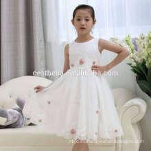 Chica de fiesta de Navidad Comunión Partido Prom Princesa Partido Pageant Bridesmaid Chica Vestido de boda Blanca Flor