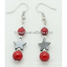 Hematite star with natural red coral beads earring