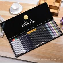 ensemble de crayon d'artiste de tirage en bois pas cher avec boîte d'étain