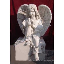 Lápida de mármol del ángel del granito con el monumento del ángel de la piedra sepulcral del ángel (SY-X051)