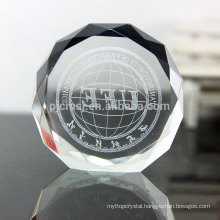 Etched round shape crystal paperweight/3D crystal paperweight