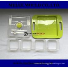 Molde de plástico para envases de comida enrejado