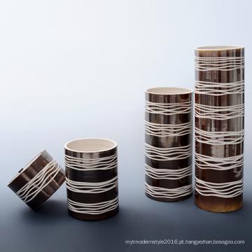 Handmade grade quadrado porcelana Homedecoration porcelana artesanato vaso (A190)