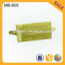 Logotipo de encargo de la placa de metal del oro amarillo MB605 para el monedero, bolsos, zapatos