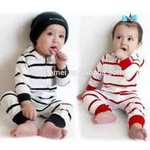 100% coton rayé manches longues enfants barboteuse avec un chapeau