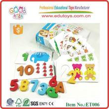 New Toy 10 Pieces Numbers Match Conjunto de bloco de madeira barato para crianças