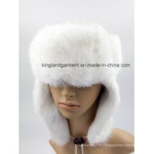 Chapeau d'hiver Ushanka en peau de mouton et de lapin avec rabat d'oreille