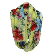 Женщина мода цветок печатных полиэстер шифон Весна бесконечность шарф (YKY1104)