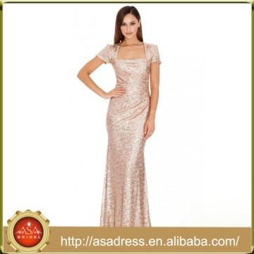 BD82 New Fashion Elegant Short Sleeve Lady Evening Gowns Sequined A-line Bridesmaid Dresses Gold Color