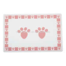 pink pet paws printing mat, pvc dog bowl placement mat