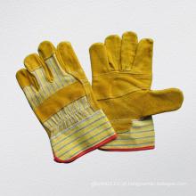 Luva de trabalho de couro de palma remendada econômica (3057)