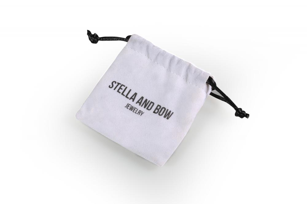Customized Small white printed velvet bag