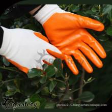 SRSAFETY Бесшовные трикотажные нитриловые защитные рабочие перчатки
