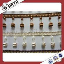 Fralda de borla decorativa com cortina com franja de contas pequenas
