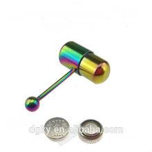 Rainbow Titanium Vibrating Tongue Barbell Ring Piercing
