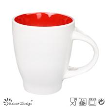 Extérieur Blanc À l'intérieur Glaze de couleur intérieure 12oz Mug de café