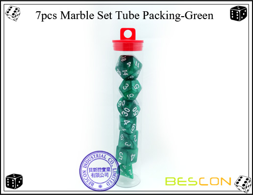 7pcs Marble Set Tube Packing-Green