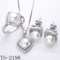 Imitation Jewelry 925 Silver Pear Jewelry Set for Young Ladies.