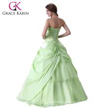 Grace Karin Chica Strapless Sweetheart Verde larga occidental Quinceanera Vestido CL2517